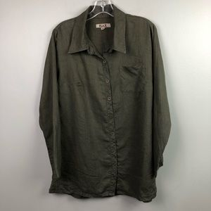 FLAX Linen Button Down Oversized Green Small